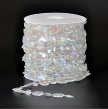 15M/Roll 14+7mm Acrylic Chandelier Clear Crystal Bead Garland Wedding Center DIY