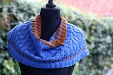 Knit Cowl Snood Wool Cashmere Blend Neck-warmer Infinity Circle Scarf Blue