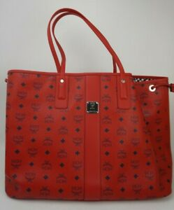 MCM Large Reversible Liz Shopper Tote Bag Candy Red (Missing Pouch)