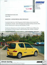Fiat Seicento Sporting Original Press Photograph & Notes 1998
