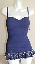 Profile by Gottex Women's Tutti Frutti Bandeau Navy Blue Swim Dress Sz 10