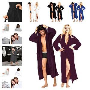 Terry Towel Hooded Dressing Gown Unisex Soft & Cozy Bathrobe Spa Gym Nightwear