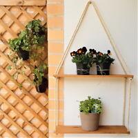 Rustic Wooden Hanging Rope Shelf / Solid Natural Wood Floating Shelves HandMade