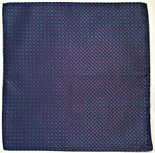 "FRANCE-VINTAGE AUTHENTIC PLAID BLUE PURPLE SILK 11"" SQUARE POCKET SMALL SCARF"