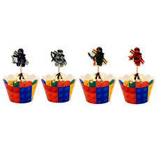 KID LEGO NINJAGO CAKE 12 PCS WRAPPERS & 12 PCS TOPPERS DECORATIONS