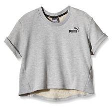Puma Short Sleeved Grey Crew Neck Womens Crop Top 836417 04 CC21