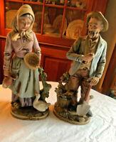 "OLD MAN WOMAN FARMER COUPLE VINTAGE 14"" PORCELAIN CAPODIMONTE FIGURINES"
