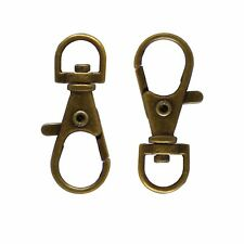 LOT DE 10 FERMOIRS MOUSQUETONS PORTE CLES / CLEFS METAL BRONZE 37x13mm