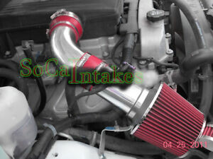 Red 2pc Cold Air Intake Kit & Filter For 2007-2009 Hummer H3 3.7L L5