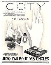 PUBLICITE COTY BEAUTE DES ONGLES COFFRET MAIN DOIGTS ART DECO DE 1930 FRENCH AD