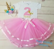 Personalised Birthday Outfit Dress Tutu unicorn 1st 2nd 3rd 4th 5th 6th Pink UK