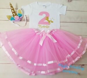 UK Personalised Birthday Outfit Dress Tutu unicorn 1st 2nd 3rd 4th 5th 6th Pink