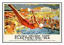 BUTLINS CLACTON ON SEA  RAILWAY VINTAGE POSTER SUPERB QUALITY