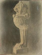 Disegno a Carboncino Raffigurante Zampa e Testa di Leone Statua - Mobile 64x48