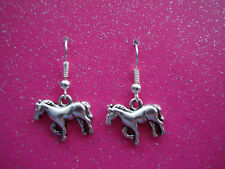 FUNKY SILVER HORSE EARRINGS PONY CUTE KITSCH ANIMAL PET COW BOY GIRL FANCY DRESS