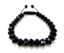 RICK ROSS BLACK GLASS HIPHOP FACETED DIAMOND CUT CRYSTAL BEADED BRACELET