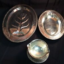 Vintage silver plated,3-piece set of serving platters and gravy bowl    ( L 4)