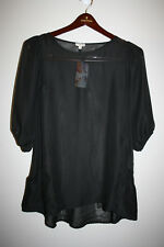 Womens LILY WHITE Solid Black Sheer 1/2 Sleeve Tunic Top 2 Pocket Small S