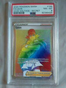 LEON 195/185 PSA 8 RAINBOW RARE FULL ART VIVID VOLTAGE POKEMON CARD
