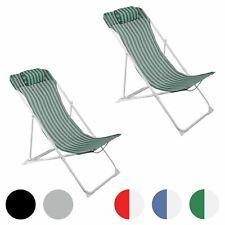 Metal Garden Deckchair Folding Adjustable Reclining, Green / White Stripe - x2