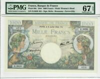 France 1000 Francs Banknote 1944 Pick#96c PMG Superb GEM UNC 67 EPQ - Vintage