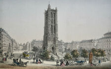 TOUR ST JACQUES, LITHOGRAPHIE COULEURS ORIGINALE DE 1850, PARIS