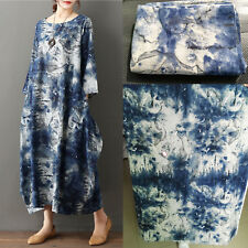 by The Metre Retro Ink Painting Print Cotton Linen Fabric for Dress Home Decor