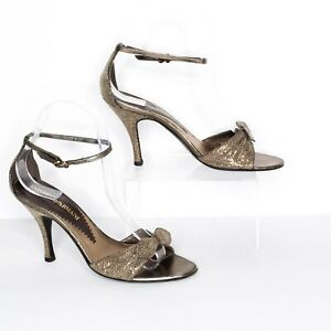 Emporio Armani Heels Ankle Strap Sparkly Bow Made In Italy Size 36.5 6.5   AP