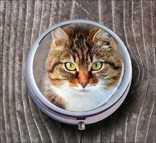 CAT BEAUTIFUL FACE CLOSE UP PILL BOX ROUND METAL -kvb7Z