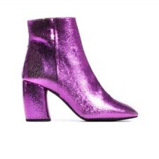 L'Intervalle Madrid Fuchsia Pink Metallic Cracked Leather Ankle Boots Size 37