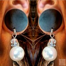 Pearl & Rhinestone Dangle Drops with Wood Ebony Plug Gauges or Tunnels in Sizes