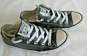 Converse  All Star BlackLeather Trainers Size 4  (E3)