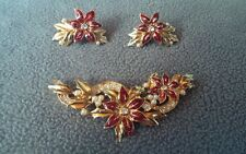 VTG Xmas AVON SET Enamel Rhinestone Pearl Brooch Earring Poinsettia Flower Lot