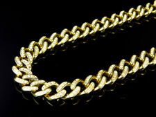 """Mens Yellow Gold Sterling Silver Lab Diamond Cuban Chain Royal Necklace 9mm 28"""""""