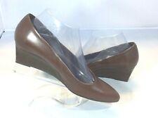 Tod's Women's Slip On Burgundy Leather Wedge Pump Heels  Size 37.5 EU  7.5 US