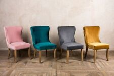 UPHOLSTERED DINING CHAIR, BUTTON BACK FRENCH STYLE SIDE CHAIR, VELVET & LINEN