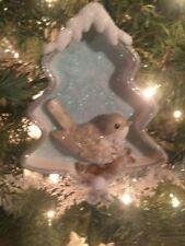 "New Kurt Adler 5.25"" Icy Blue Bird in Xmas Tree Shadowbox Christmas Ornament! B"