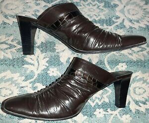 8.5 M Leather Mule Italy Brighton Black Embellished Pointed Slide Barely Worn