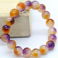 "Pretty 10mm Fashion Multicolor Jade Gemstone Beads Stretchable Bracelet 7.5"""