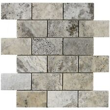 Silver grey tumbled travertine mosaic - 4.8 x 9.8cm