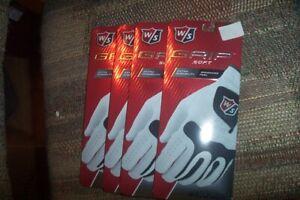 4 BRAND NEW Wilson Grip Soft  Mens LH  medium Large  ML Gloves White
