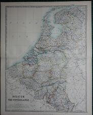 1887 LARGE VICTORIAN MAP ~ BELGIUM & THE NETHERLANDS BRABANT ANVERS FLANDRE