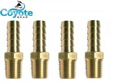 "Ships Free 4 Pack Lot Brass Fittings: 1/2"" Hose Barb x 1/4"" NPT Male Pipe Thread"