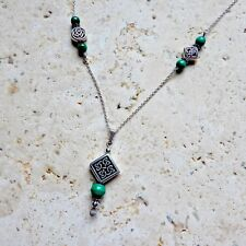 Sterling Silver Celtic Knot Genuine Malachite gemstone beaded necklace Irish