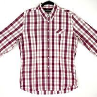 Calibre Men's Sz XL White Red Blue Slim Check Button Up Long Sleeve Casual Shirt