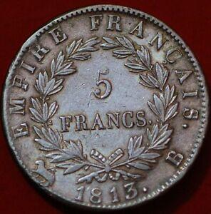 France 5 Francs 1813 B Napoleon I french empire Silver KM#694.2 no2492