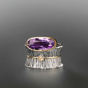 Noble Woman 925 Silver Amethyst Gem Ring Wedding Engagement Jewelry Size 6-10