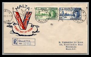 GP GOLDPATH: MALTA COVER 1946FIRST DAY OF ISSUE REGISTERED LETTER _CV699_P17