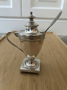 CONDIMENT MUSTARD JAM POT Silver Plated With Sheffield Spoon