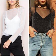 NEW Fashion Women Mesh Sheer See-through Long Sleeve Crop Top T Shirt Blouse LG